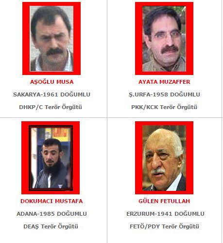 Aranan teröristler listesi güncellendi! İşte son hali