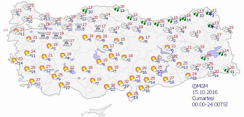Yurtta 5 günlük hava durumu (14.10.2016)