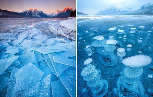 Nefes kesen donmuş göl manzaraları