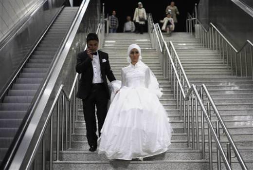 Marmaray'da düğün fotoğrafı