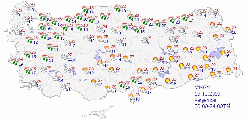 Yurtta 5 günlük hava durumu (13.10.2016)