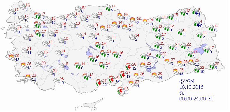 Yurtta 5 günlük hava durumu (18.10.2016)