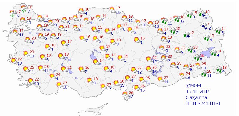 Yurtta 5 günlük hava durumu (19.10.2016)