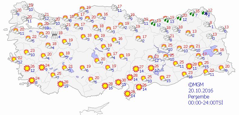 Yurtta 5 günlük hava durumu (20.10.2016)