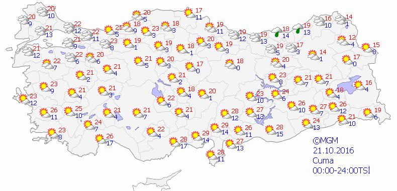Yurtta 5 günlük hava durumu (21.10.2016)