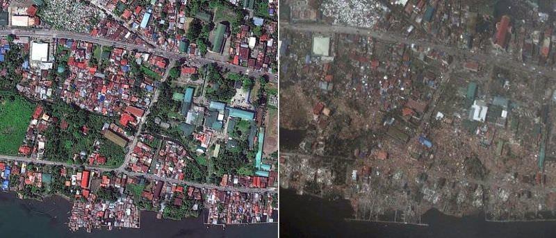Büyük yıkım uydudan görüntülendi