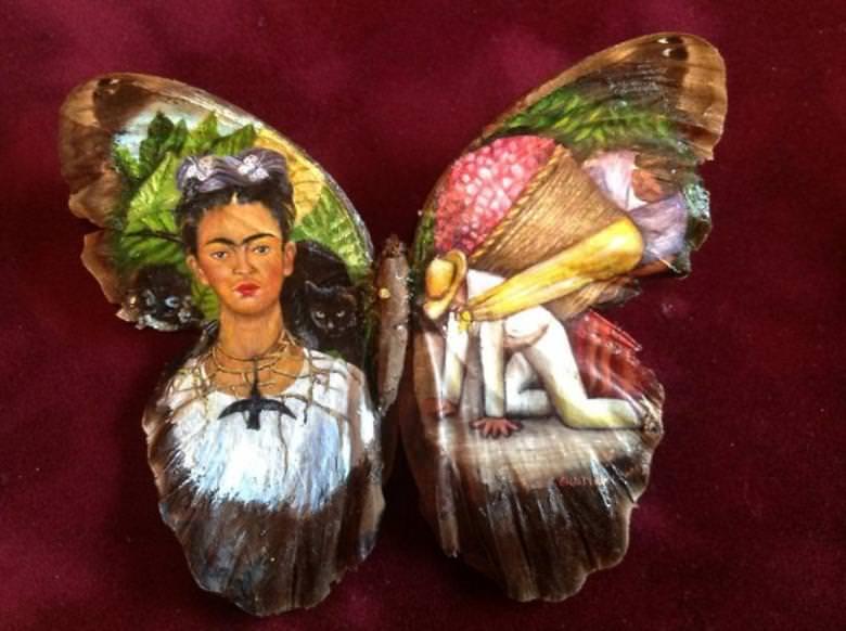 Gerçek Kelebek Kanatlarına Çizilen Göz Alıcı Yağlı Boya Resimleri