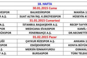 2014-2015 sezonu 2. yarı fikstürü