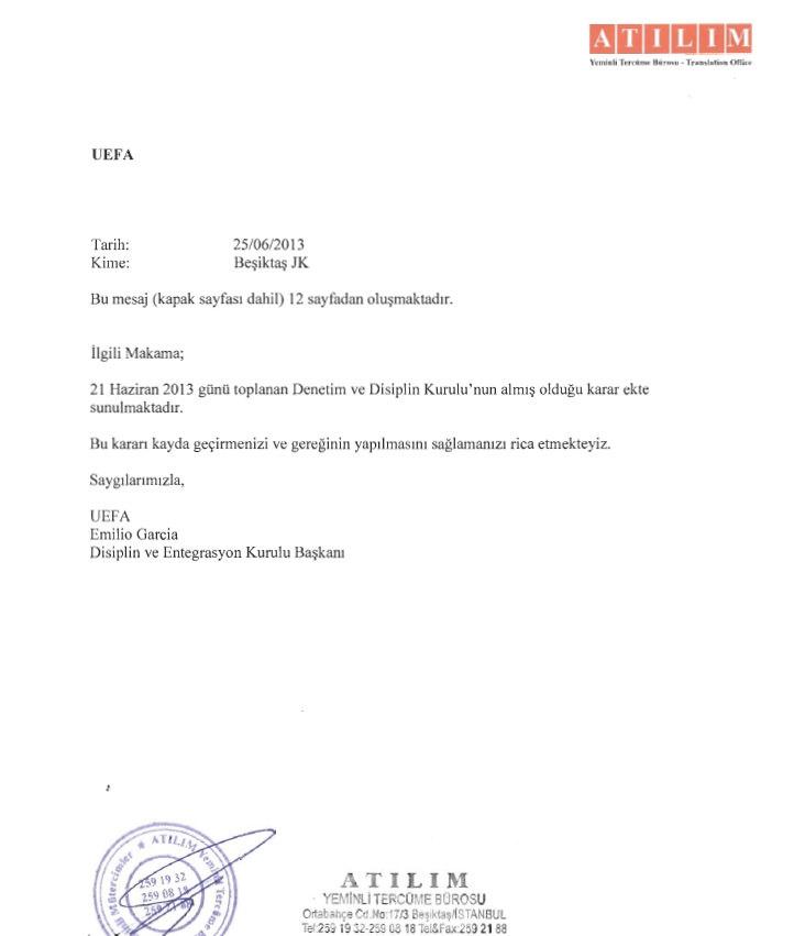 Beşiktaş, UEFA'dan gelen kararı yayınladı!