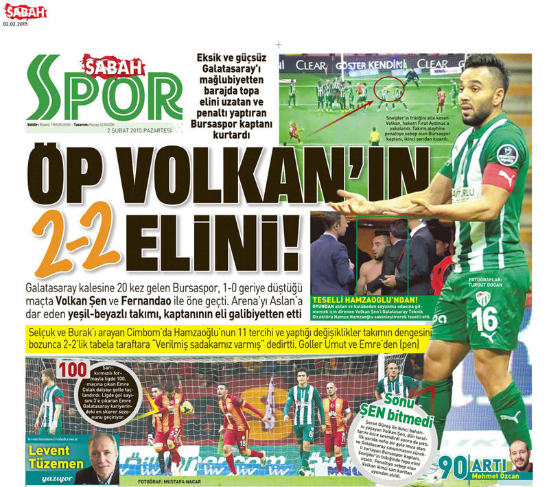 Gazetelerin Galatasaray - Bursaspor maçı başlıkları