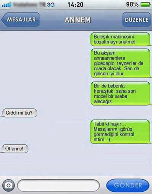 Annelerden gelen en komik mesajlar