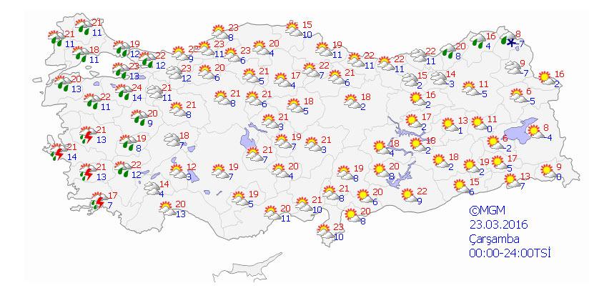 Yurtta 5 günlük  hava durumu (22.03.2016)