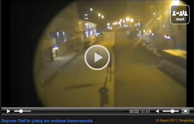 Bayram otel in çöküş anı mobese kamerasında