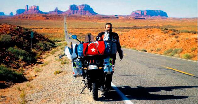 Motosikletiyle dünya turuna çıktı, 2016'da geri dönecek
