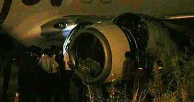 Uçak sığıra çarptı