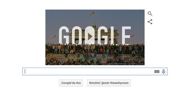 Google'dan Berlin Duvarı için doodle
