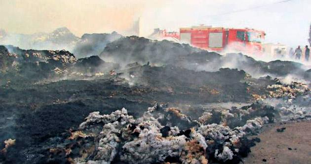 Bin ton pamuk alev alev yandı