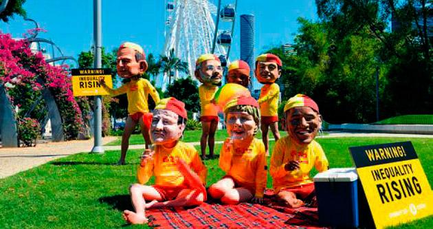 Liderlere yoksulluğu maskelerle hatırlattılar