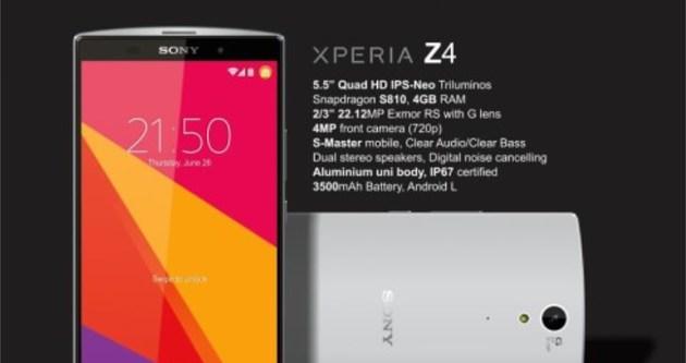 Sony Xperia Z4'ün özellikleri netleşiyor