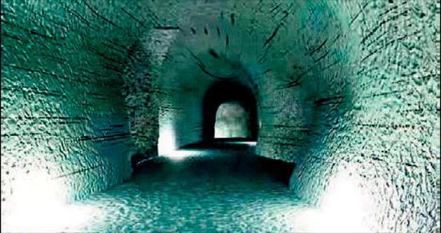 Buzul mavisine 500 metre tünel