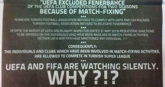 İngiltere'de Fenerbahçe'yi kızdıracak şike ilanı