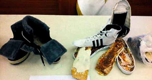 Ayakkabıda gizledikleri eroini İtalya'ya kaçıracaklardı