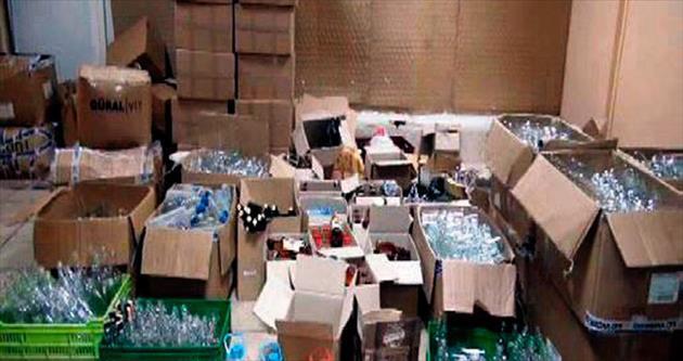 10 bin şişe sahte içki ele geçirildi