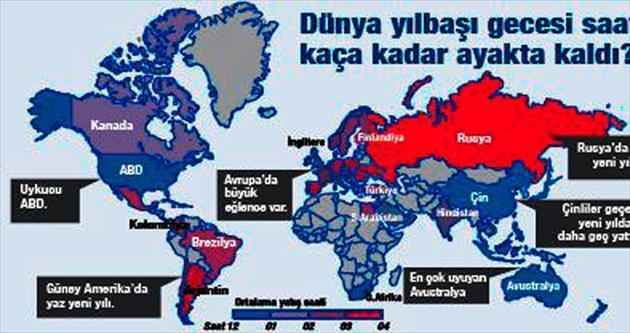 Dünyanın yeni yılda uyku haritası