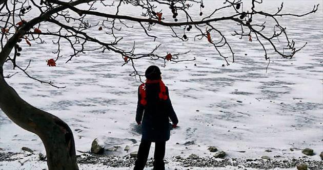 Mogan ve Eymir'de göl suyu buz tuttu