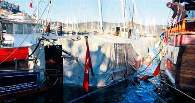 Batan tekne kurtarıldı