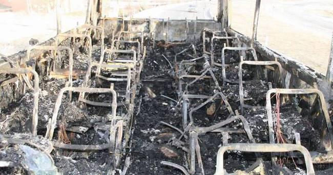 Yozgat'ta hareket halindeki otobüs yandı