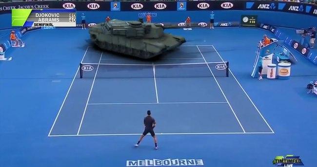 Djokovic 60 tonluk tankla maç yaptı!