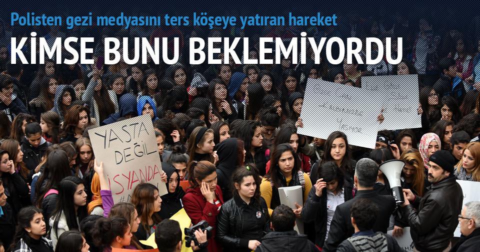 Polisten Özgecan protestocularına destek