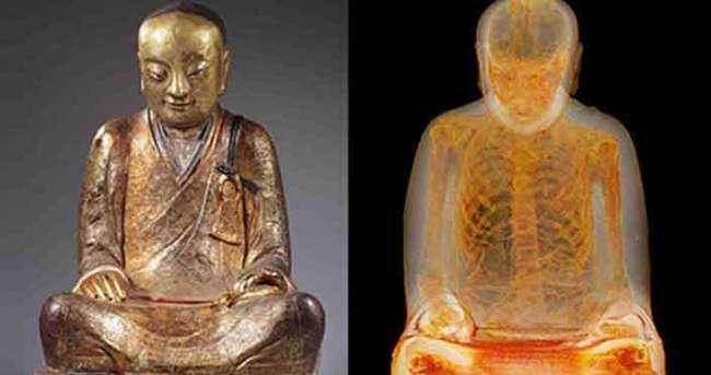 Buda heykelinin içinde mumya bulundu
