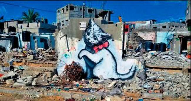 Gizemli sanatçı Bansky, Gazze'de
