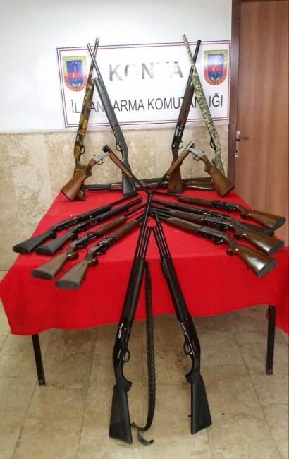 Beyşehir'de Yasa Dışı Üretim Tüfekler Ele Geçirildi