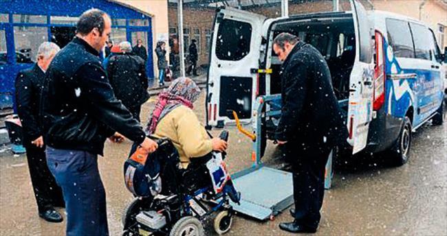 Asansörlü engelli araçları hizmette