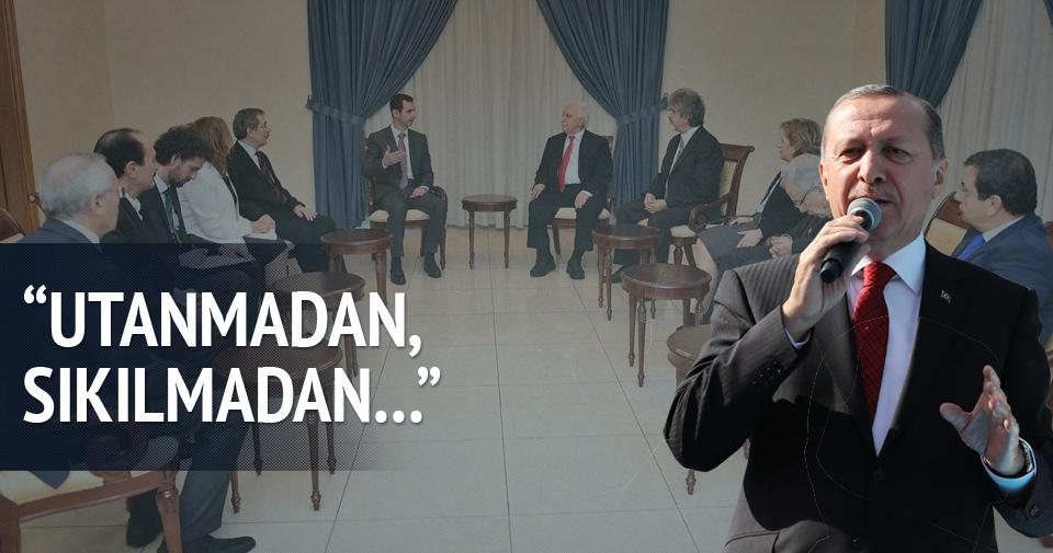 Erdoğan'dan Esed'i ziyaret eden siyasilere sert tepki