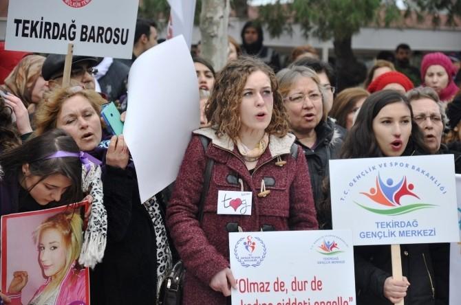 Tekirdağlılar Kadına Şiddete Karşı Yürüdü