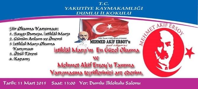 Dumlu'da İstiklal Marşı'nı En Güzel Okuma Yarışması Yapılacak