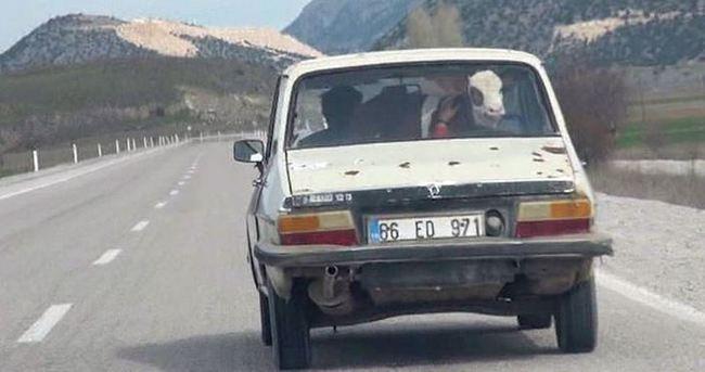 Sarıkız otomobilde yolculuk yaptı