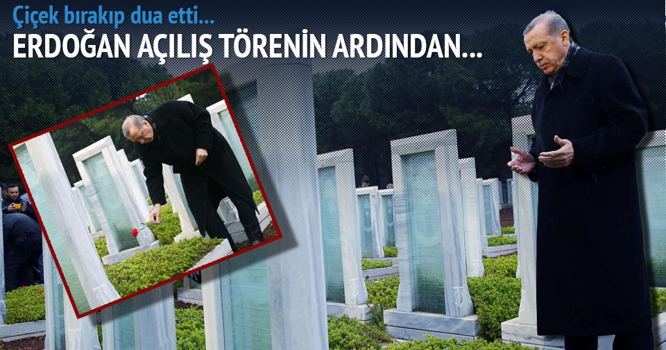 Erdoğan Şehitler Abidesi'ne çiçek bırakıp dua etti