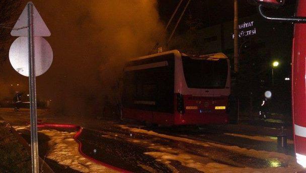 Malatya'da trambüs yangını