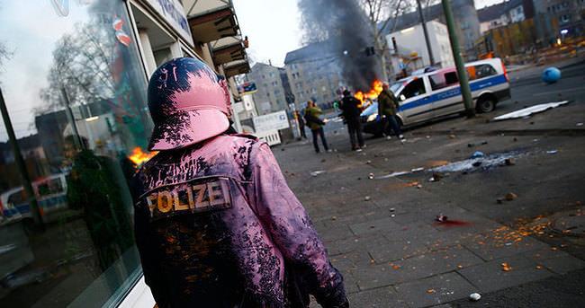 Frankfurt'ta kapitalizm karşıtı gösteriler alevlendi