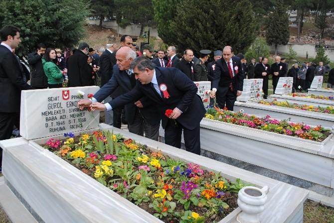 Şehit Mezarları Çiçeklerle Donatıldı