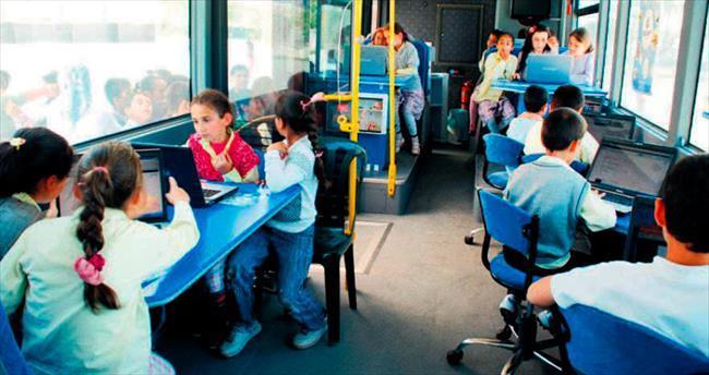 Suriyelilere mobil eğitim