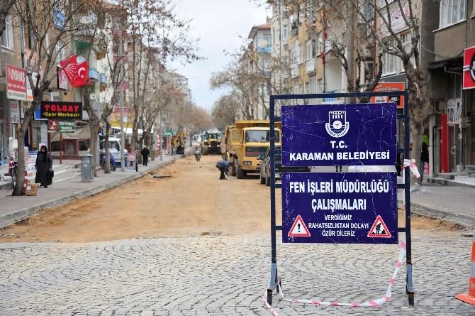 Karaman Belediyesi 2.istasyon Caddesi'ni Yeniliyor