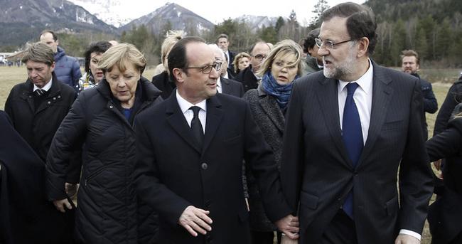 Hollande, Merkel ve Rajoy kaza bölgesinde