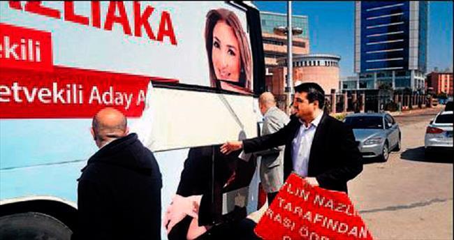 CHP'nin önünde otobüslü eylem