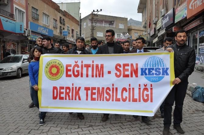 Derik Eğitim-sen, İlçe Milli Eğitim Müdürlüğü'nü Protesto Etti